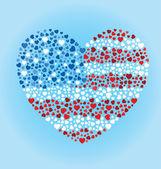 American Flag Heart — Stockvector