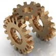 Illustration of mechanism of the three gold gears — Stock Photo