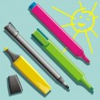 Felt pens and marers - Stock Vector