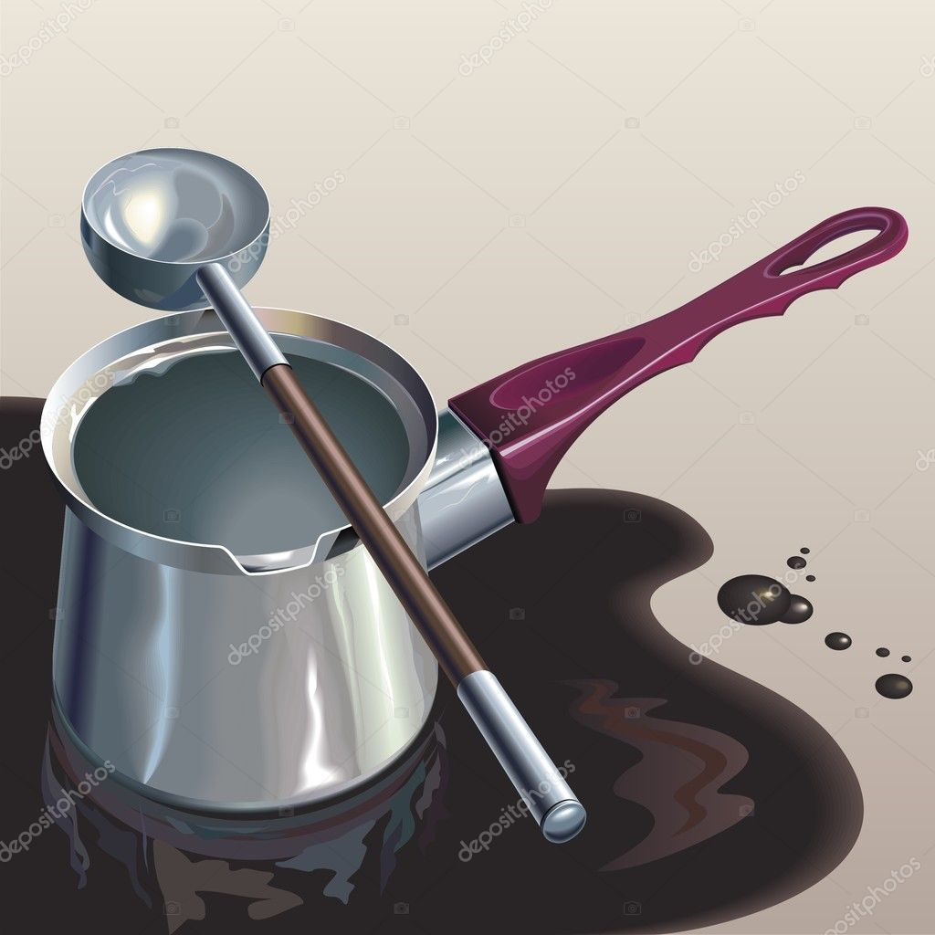 Stainless steel coffee-pot in coffee puddle — Stock Vector #10057091