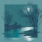 Moonlit Night — Stock Vector