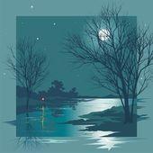 Moonlit Night — Stock Vector