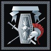 Shield, sword, helmet and spear — Stock Vector