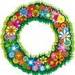 Stock Vector: Flower wreath