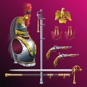 Napoleonic cuirassiers armament. — Stock Vector
