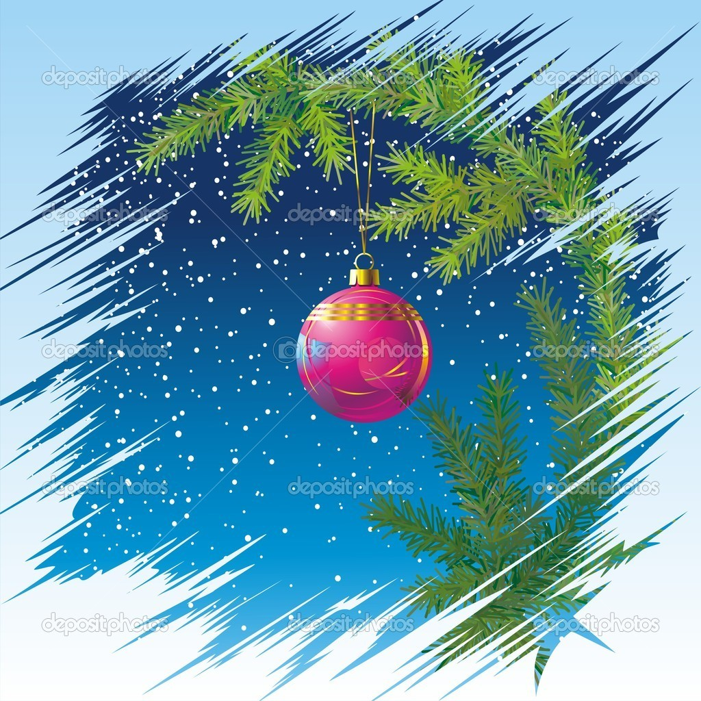Decorated Christmas tree, blue sky and snow — Stock Vector #10153650
