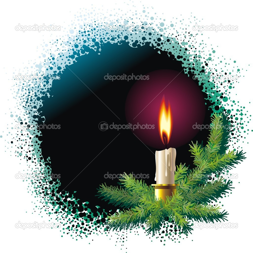 Christmas background with christmas tree and burning candle — Stok Vektör #10153675