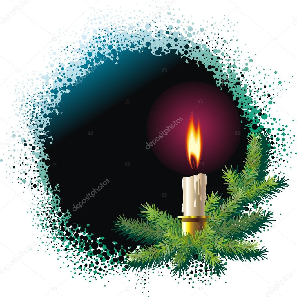 Christmas background with christmas tree and burning candle  Stockvektor #10153675