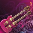 Double neck guitar - Stock Vector
