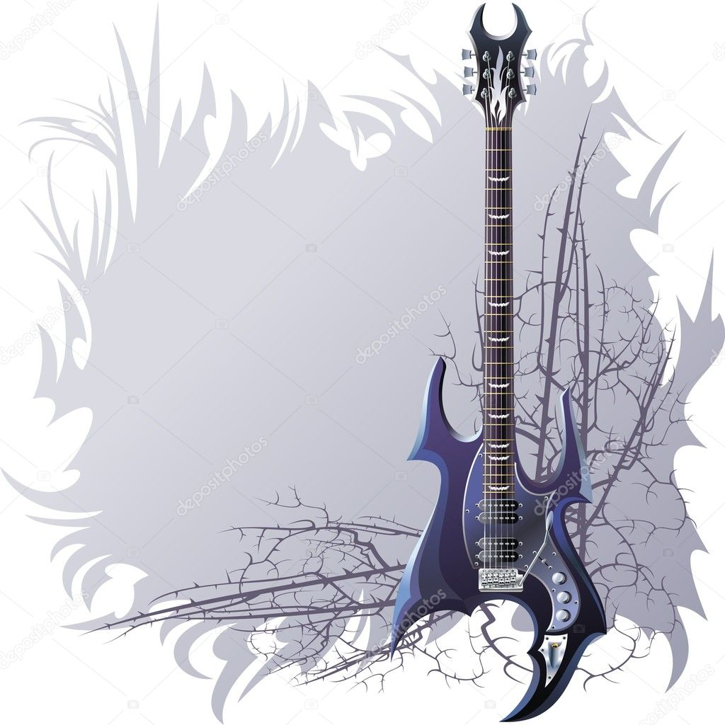 Background with black guitar and spiny branches. — Stock Vector #10253184