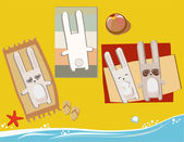 Rabbits on the beach — Stock Vector