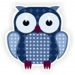 Cartoon blue owl. - Stock Vector