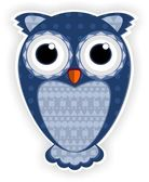 Cartoon blue owl. — Stock Vector
