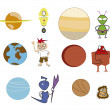 Stock Vector: Icons Planets