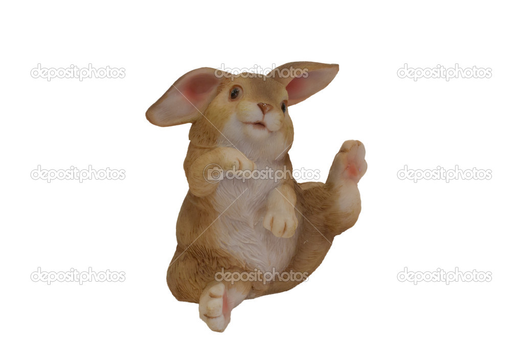 Statuete funny of rabbit isolated on white — Foto Stock #10046543