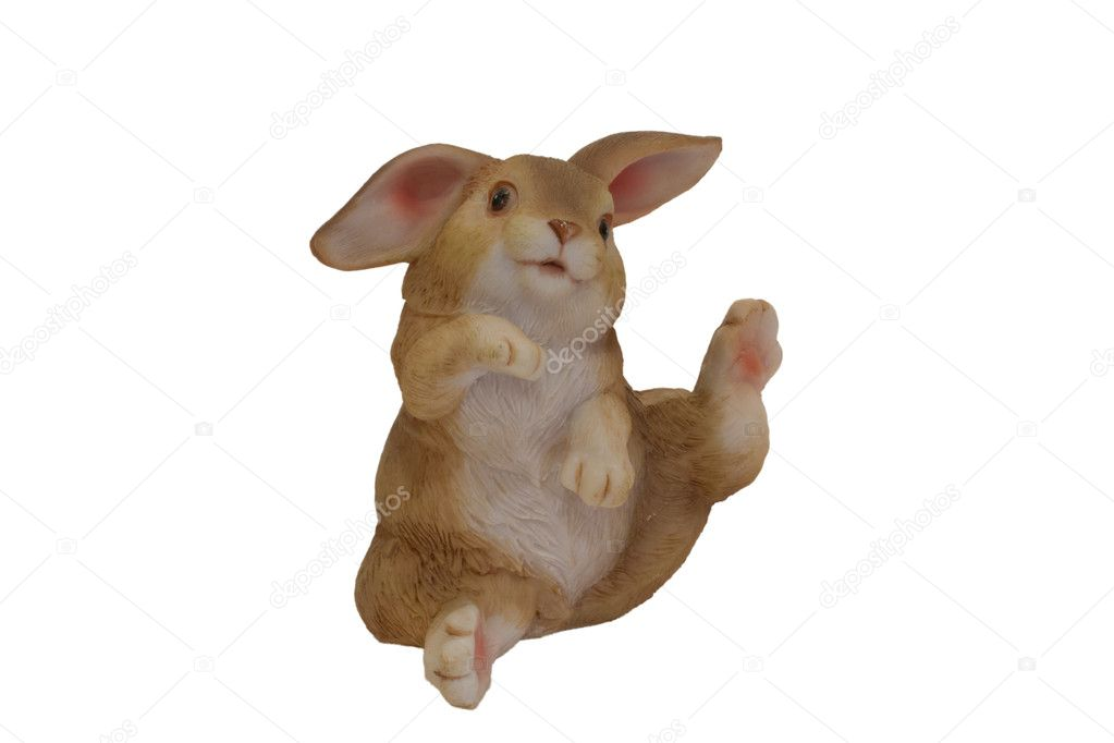 Statuete funny of rabbit isolated on white — Stockfoto #10046543