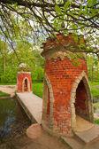 A small bridge through the river — Stock Photo