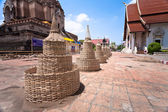 CHIANG MAI, THAILAND - APRIL 8: Wat Chedi Luang prepare wood structure of sand pagoda on APRIL 8, 2012 in CHIANG MAI, THAILAND. — Stock Photo