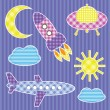 Stock Vector: Set of cute colorful aircraft stickers