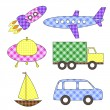 Set of cartoon vector transport stickers — Stock Vector