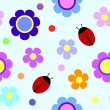 Seamless pattern with flowers and ladybugs — Stock Vector