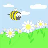 Bee on flower — Stock Vector