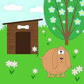 Cane e casa — Vettoriale Stock