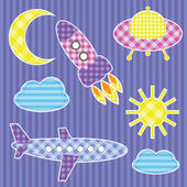 Set of cute colorful aircraft stickers — Stock Vector