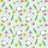 Kawaii background with cute pandas — Stock Vector