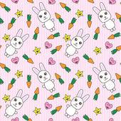 Kawaii background with cute bunnies — Stock Vector