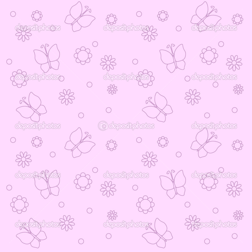 Cute pink background with flowers and butterflies — Stock ...