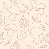 Cute unique background with mushrooms and leaves — Stock Vector