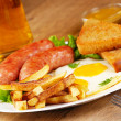 Stock Photo: Fried eggs with sausages