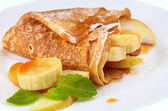 Crepes with maple syrup — Stock Photo