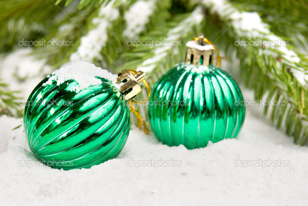 Christmas balls under christmas tree — Stock Photo #10149843