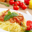 Pasta with a tomato beef sauce - Stock Photo