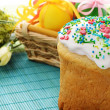 Easter cake and eggs — Stock Photo #10152531