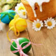 Stockfoto: Easter cake and eggs