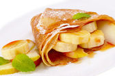 Crepes with maple sirup — Stock Photo