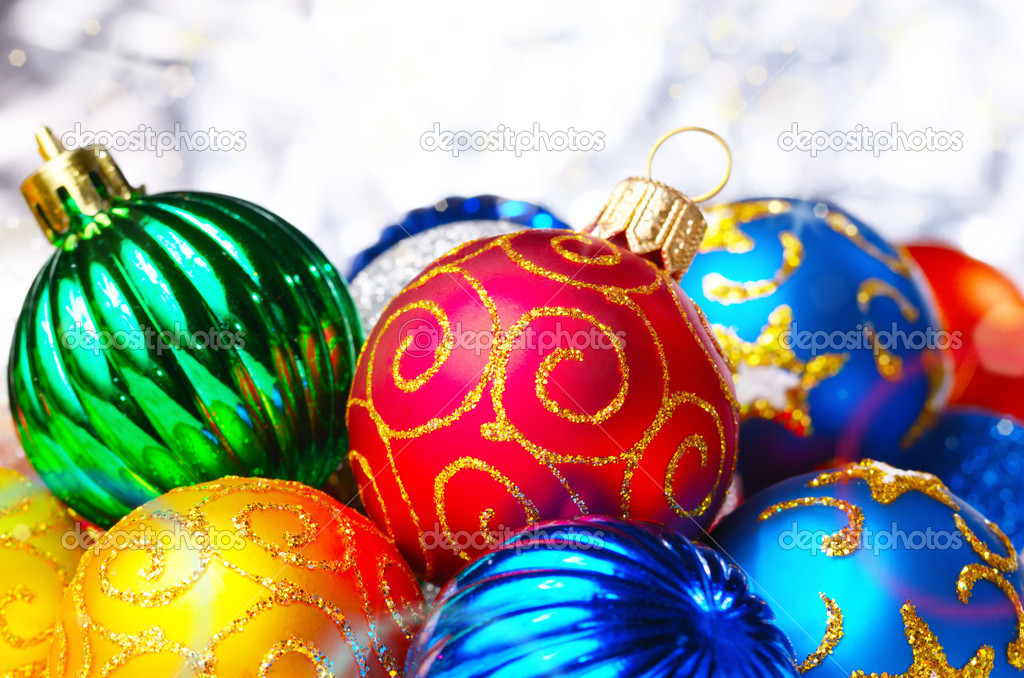 Different color Christmas decorative balls background — Photo #10150799