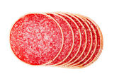Salami in parmesan — Stock Photo