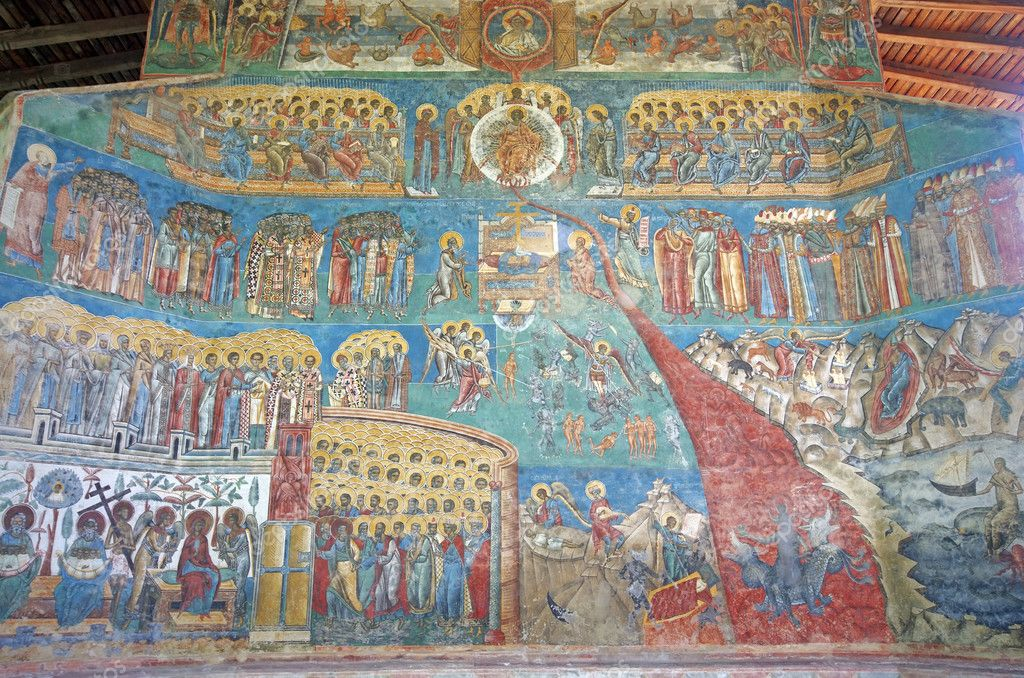 Painted wall at Voronet monastery (Unesco Heritage)  Stock Photo #10653611