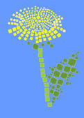 Vector illustration of Dandelion in the style of the mosaic — Stock Vector