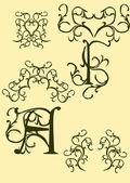 Monogram, retro shapes, decorative elements, patterns — Stock Vector