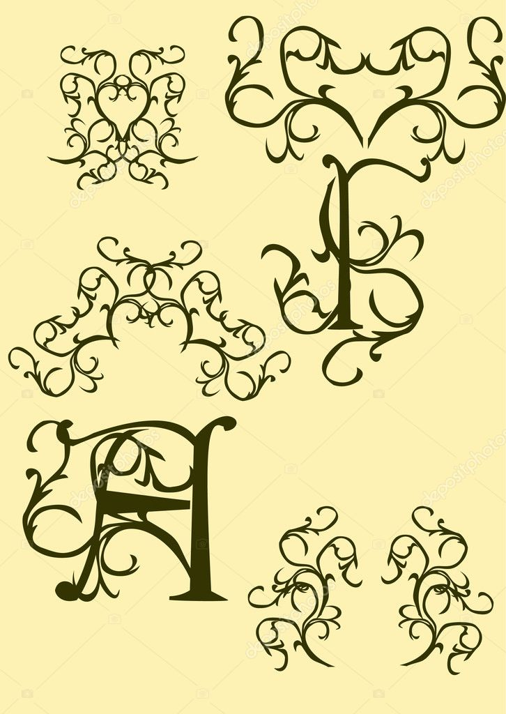 Monogram, retro shapes, decorative elements, patterns Vector illustration — Stock Vector #10450743