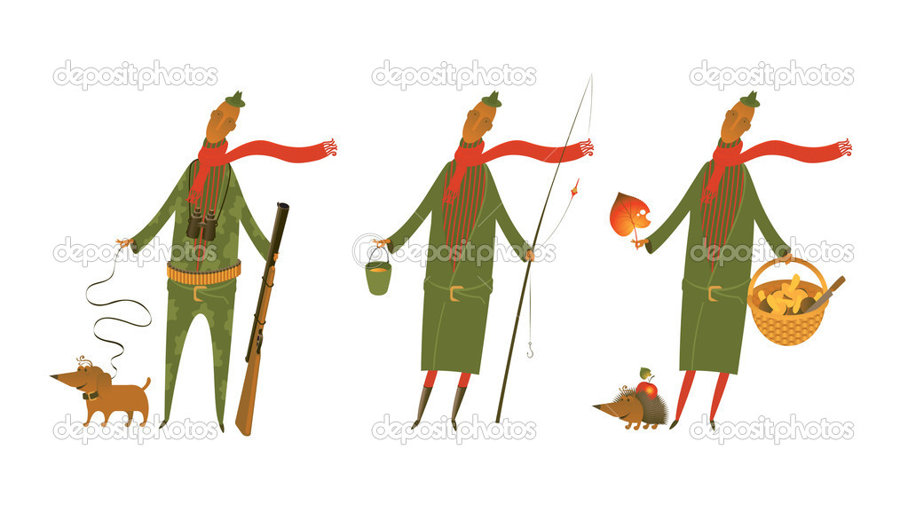 Mushroom, fisherman and hunter with dog — Stock Vector #10057144