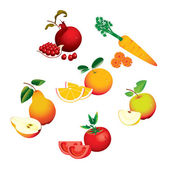 Set of fruits vegetables — Stock Vector