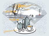 Ceremonia del té — Vector de stock