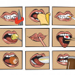 Mouth eats — Stock Vector