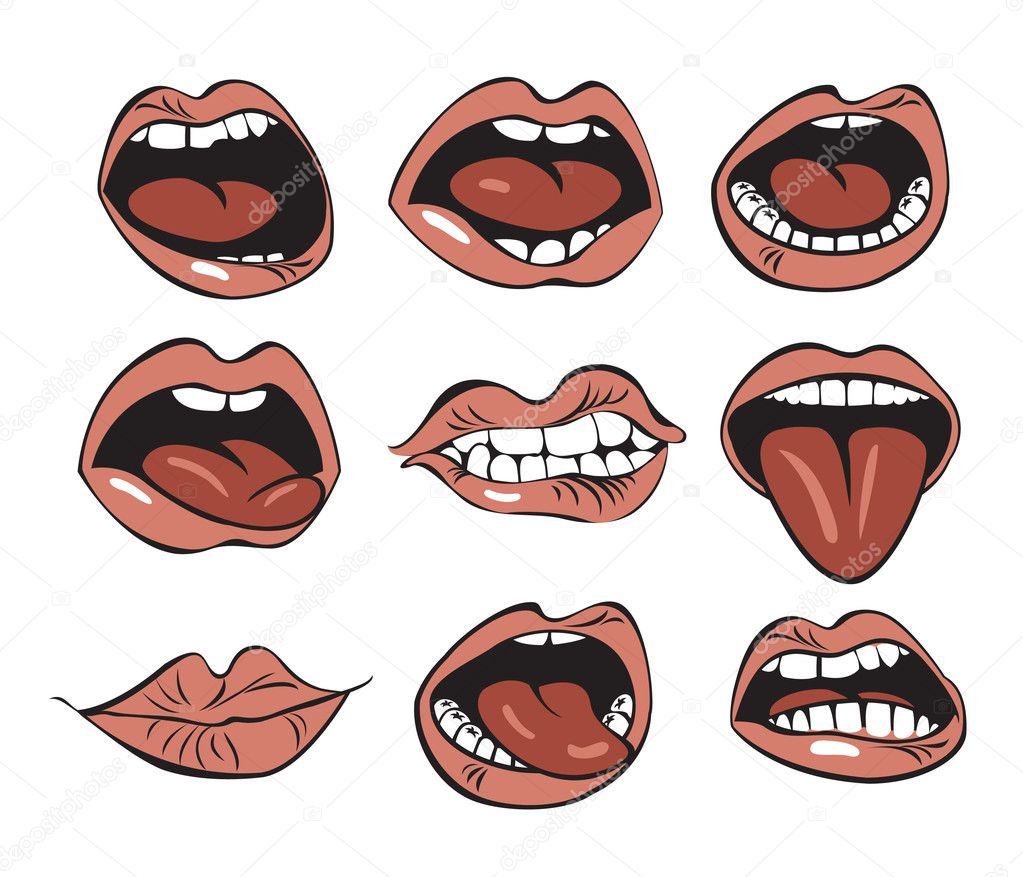 Set of nine mouths with different expressions of emotion  Vektorgrafik #10217191